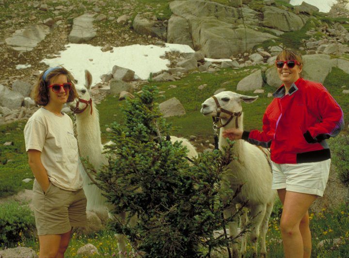 Two women stand next to two llamas on a hillside dotted with large rocks in the Weminuche Wilderness.